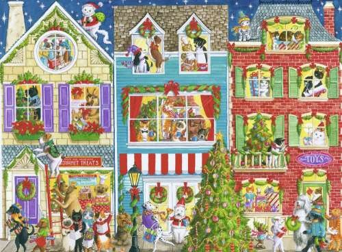 Christmas on Pet Street (RB19735-4), a 1000 piece jigsaw puzzle by Ravensburger. Click to view larger image.