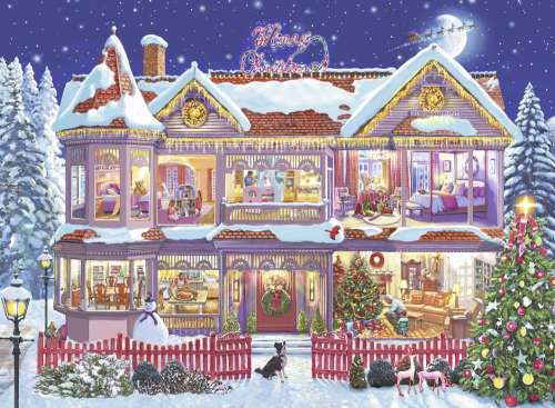 The Christmas House (RB14769-4), a 500 piece jigsaw puzzle by Ravensburger. Click to view larger image.