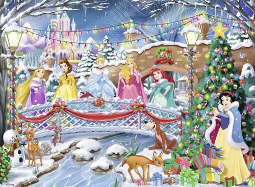 Disney Princess Christmas (Glitter Highlights) (RB10794-0), a 100 piece jigsaw puzzle by Ravensburger. Click to view larger image.