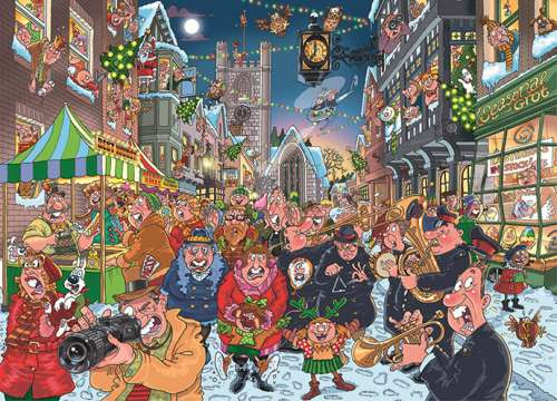 Big Turn On (Christmas Wasgij #12) (HOL98859), a 1000 piece jigsaw puzzle by Holdson. Click to view larger image.