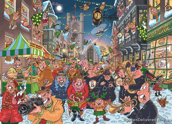 Big Turn On (Christmas Wasgij 12) (HOL98859), a 1000 piece jigsaw puzzle by Holdson.