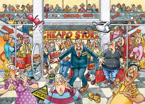Deal Breaker! (Original Wasgij #25) (HOL770007), a 1000 piece jigsaw puzzle by Holdson. Click to view larger image.