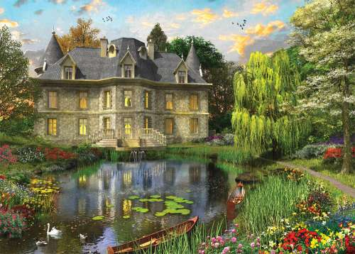 Lake Mansion (HOL770021), a 1000 piece jigsaw puzzle by Holdson. Click to view larger image.
