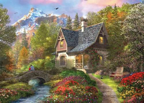 Mountain Retreat (HOL770038), a 1000 piece jigsaw puzzle by Holdson. Click to view larger image.