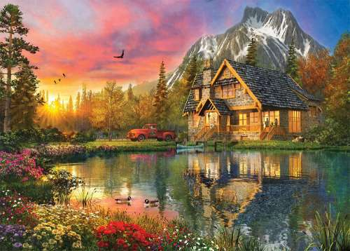 Sunset Cabin (HOL770052), a 1000 piece jigsaw puzzle by Holdson. Click to view larger image.