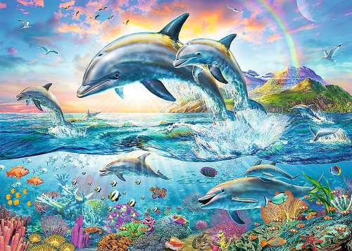 Happy Dolphins (TRE27087), a 2000 piece jigsaw puzzle by Trefl. Click to view larger image.