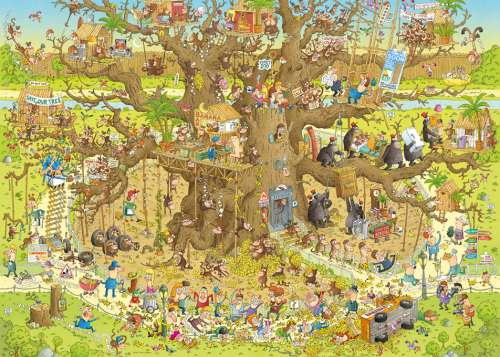 Monkey Habitat (Funky Zoo) (HEY29833), a 1000 piece jigsaw puzzle by HEYE. Click to view larger image.