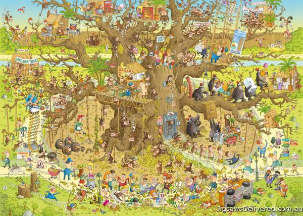 Monkey Habitat (Funky Zoo) (HEY29833), a 1000 piece jigsaw puzzle by HEYE.