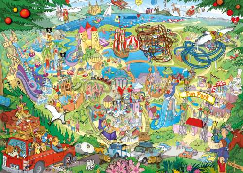 Fun Park Trip (HEY29837), a 1000 piece jigsaw puzzle by HEYE. Click to view larger image.