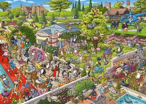 Party Cats (HEY29838), a 1000 piece jigsaw puzzle by HEYE. Click to view larger image.