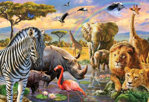 Savannah Waterhole (HOL770113), a 300 piece jigsaw puzzle by Holdson. Click to view larger image.