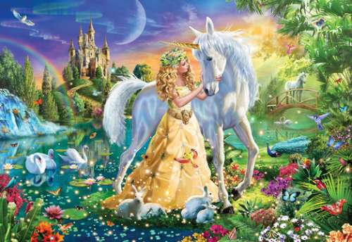 Princess and Unicorn (HOL770090), a 300 piece jigsaw puzzle by Holdson. Click to view larger image.