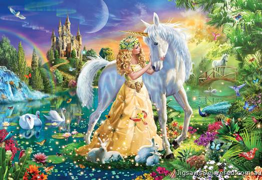 Princess and Unicorn (HOL770090), a 300 piece jigsaw puzzle by Holdson.