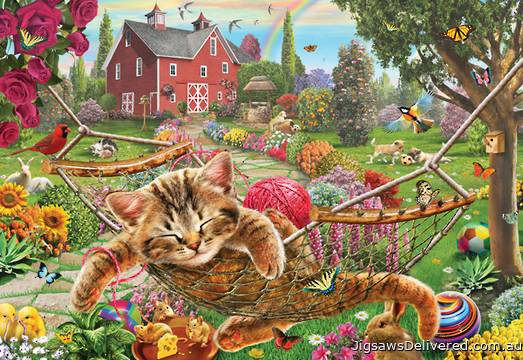 Cat on the Farm (HOL770076), a 300 piece jigsaw puzzle by Holdson.