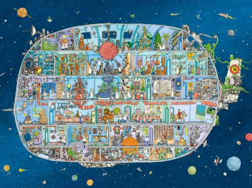 Spaceship (HEY29841), a 1500 piece jigsaw puzzle by HEYE. Click to view larger image.