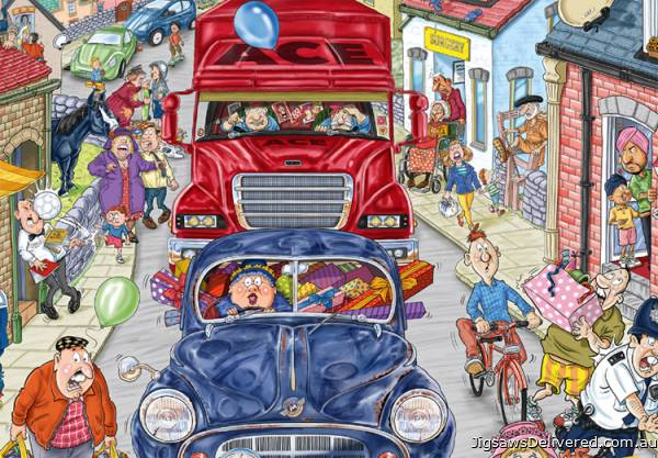A Sunday Drive (Wasgij 20th Anniversary Limited Ed.) (HOL770243), a 1000 piece jigsaw puzzle by Holdson.