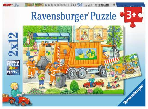 Street Cleaning Underway (RB07617-8), a 12 piece jigsaw puzzle by Ravensburger. Click to view larger image.