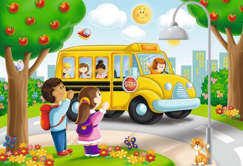 Going to School (Giant Floor Puzzle) (RB05405-3), a 24 piece jigsaw puzzle by Ravensburger. Click to view larger image.