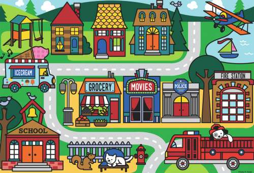 City Streets (Giant Floor Puzzle) (RB05398-8), a 24 piece jigsaw puzzle by Ravensburger. Click to view larger image.