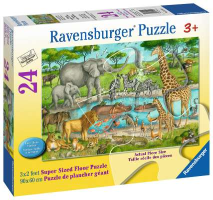 Watering Hole Delight (RB05542-5), a 24 piece jigsaw puzzle by Ravensburger. Click to view larger image.