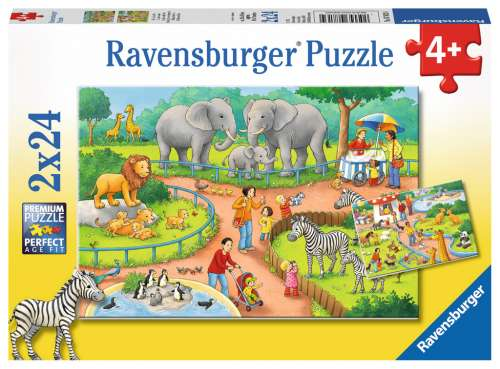 A Day at the Zoo (RB07813-4), a 24 piece jigsaw puzzle by Ravensburger. Click to view larger image.