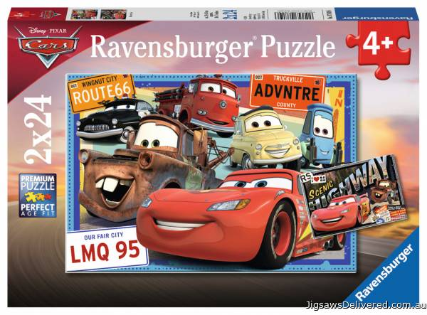 Disney Cars (Twin pack) (RB07819-6), a 24 piece jigsaw puzzle by Ravensburger.