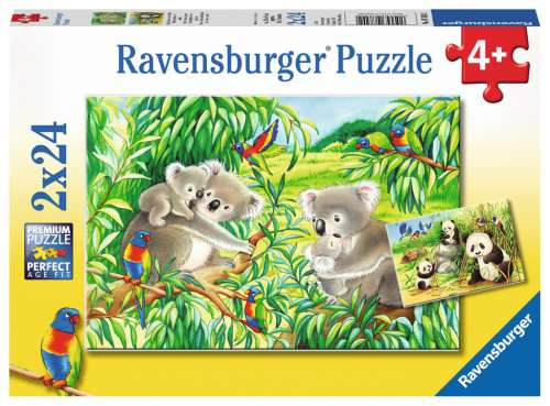 Sweet Koalas and Pandas (Twin pack) (RB07820-2), a 24 piece jigsaw puzzle by Ravensburger. Click to view larger image.
