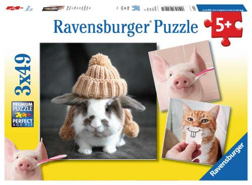 Funny Animal Portraits (Triple pack) (RB08028-1), a 49 piece jigsaw puzzle by Ravensburger. Click to view larger image.