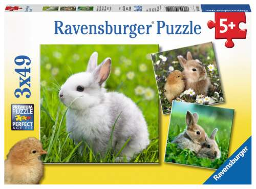 Cute Bunnies (Triple pack) (RB08041-0), a 49 piece jigsaw puzzle by Ravensburger. Click to view larger image.