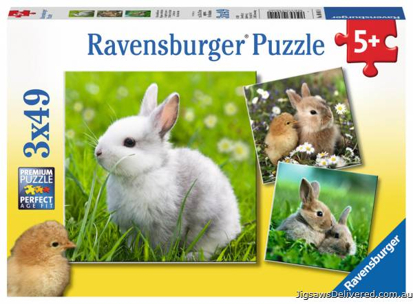 Cute Bunnies (Triple pack) (RB08041-0), a 49 piece jigsaw puzzle by Ravensburger.