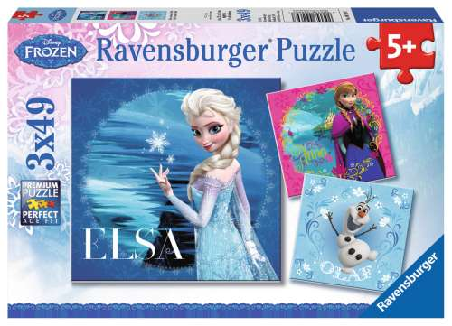 Disney Frozen Disney Elsa, Anna & Olaf (Triple pack) (RB09269-7), a 49 piece jigsaw puzzle by Ravensburger. Click to view larger image.