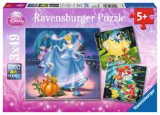 Disney Snow White, Cinderella and Ariel (Triple pack) (RB09339-7), a 49 piece Ravensburger jigsaw puzzle.