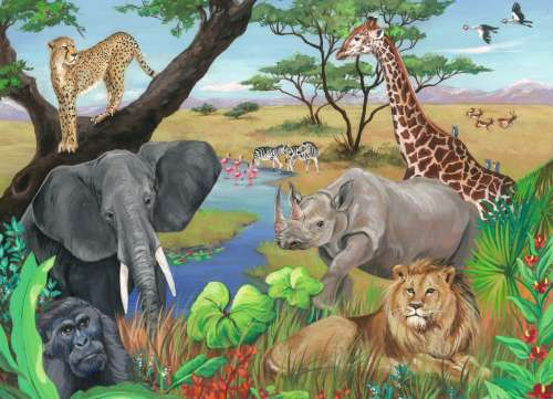 Safari Animals (RB09600-8), a 60 piece jigsaw puzzle by Ravensburger. Click to view larger image.