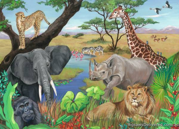 Safari Animals (RB09600-8), a 60 piece jigsaw puzzle by Ravensburger.