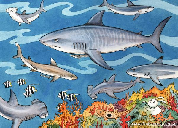 Sea of Sharks (RB09628-2), a 60 piece jigsaw puzzle by Ravensburger.