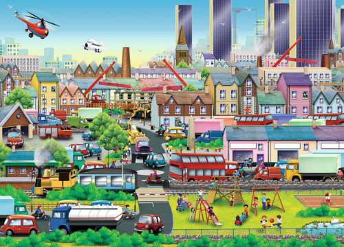 Busy Neighborhood (RB09630-5), a 60 piece jigsaw puzzle by Ravensburger. Click to view larger image.