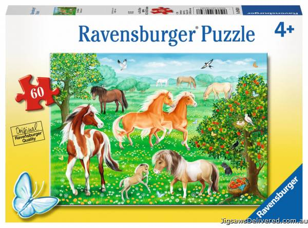 Mustang Meadow (RB09639-8), a 60 piece jigsaw puzzle by Ravensburger.