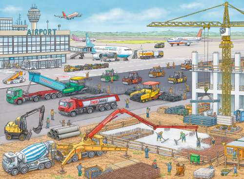 Construction Site at the Airport (RB10624-0), a 100 piece jigsaw puzzle by Ravensburger. Click to view larger image.