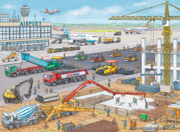 Construction Site at the Airport (RB10624-0), a 100 piece jigsaw puzzle by Ravensburger.