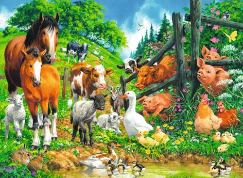 Animal Get Together (RB10689-9), a 100 piece jigsaw puzzle by Ravensburger. Click to view larger image.