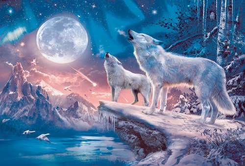Twilight Howl (RB13600-1), a 100 piece jigsaw puzzle by Ravensburger. Click to view larger image.