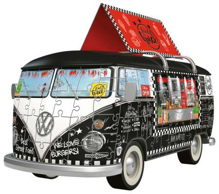 VW Kombi Food Truck (3D Puzzle) (RB12525-8), a 162 piece jigsaw puzzle by Ravensburger. Click to view larger image.