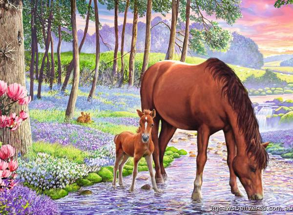 Horse and Foal Serene Sunset (RB13242-3), a 300 piece jigsaw puzzle by Ravensburger.