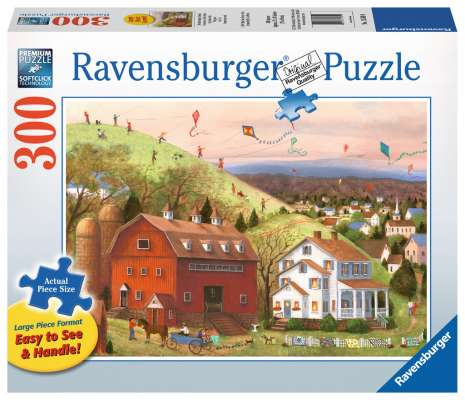 Let's Fly Kites (Large Pieces) (RB13589-9), a 300 piece jigsaw puzzle by Ravensburger. Click to view larger image.