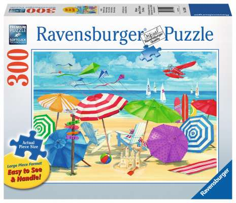 At the Beach (Large Pieces) (RB13590-5), a 300 piece jigsaw puzzle by Ravensburger. Click to view larger image.