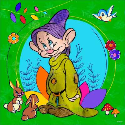Dopey (Snow White and the Seven Dwarfs) (RB15203-2), a 500 piece jigsaw puzzle by Ravensburger. Click to view larger image.
