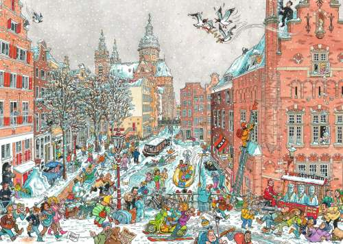 Amsterdam in Winter (RB19789-7), a 1000 piece jigsaw puzzle by Ravensburger. Click to view larger image.