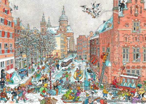 Amsterdam in Winter (RB19789-7), a 1000 piece jigsaw puzzle by Ravensburger.