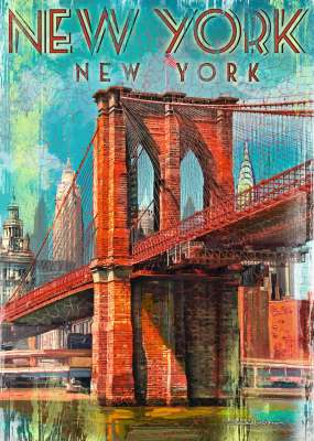 Retro New York (RB19835-1), a 1000 piece jigsaw puzzle by Ravensburger. Click to view larger image.