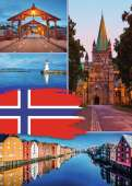 Trondheim Norway Collage (RB19845-0), a 1000 piece Ravensburger jigsaw puzzle.